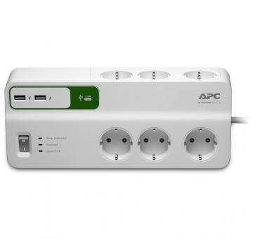 APC PM6U-GR Essential SurgeArrest 6 outlet strip USB charging
