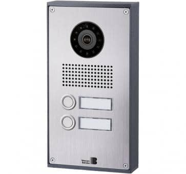 Telecom Behnke series 5 silver 2 buttons IP doorstation stainless steel 5-0038-IP V2A wall mount