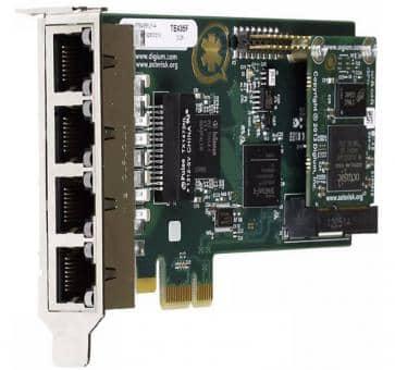 Digium TE435BF quad Span T1/E1/J1 4xPRI card PCIe + HW EC