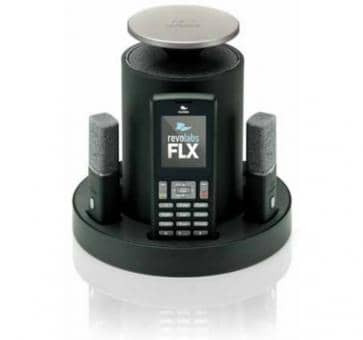 Revolabs FLX 2 VoIP conferencing system with two clip-on microphones