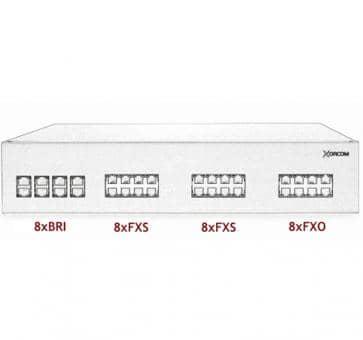 Xorcom IP PBX - 8 BRI + 16 FXS + 8 FXO - XR2104